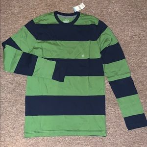 SMALL Navy and Green Striped LS Long Sleeve Shirt